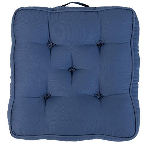 Loft 25 Armchair Booster Cotton Cushion   Removable 4-inch Extra Thick Seat Pads for Knee or Joint Problems   Super Soft and Durable (Blue, Set of 1)