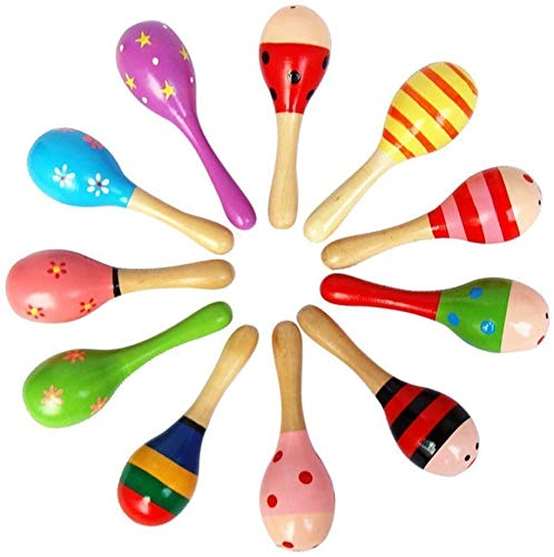 Best Buy! Zhejia Wooden Maraca Rattles Colored Wooden Sand Hammer Shaker Percussion Favour Infant To...