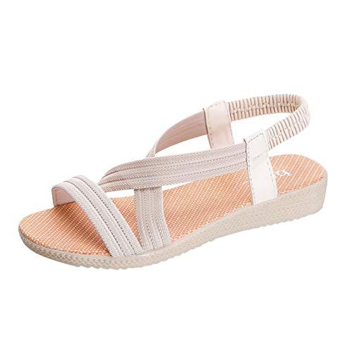 Damen Sandalen Bequeme Flache Beach Strandsandale Slingback Peep Toe Sommer Outdoor Sandals Freizeitschuhe(1-Beige/Khaki,39)