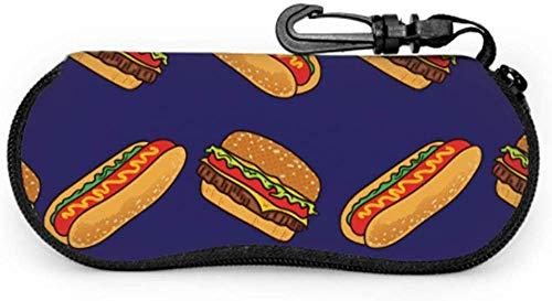 MODORSAN Fast Food Yummy Hamburger Girls Sonnenbrillenetui Herren Brillenetui Light Portable Neopren Reißverschluss Soft Case Soft Thin Eyeglass Case