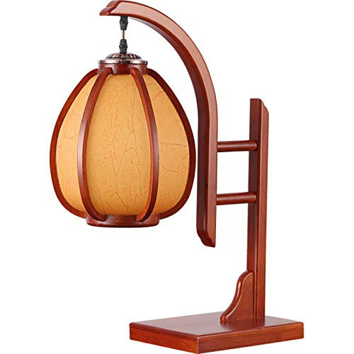 SummarLee Antique Chinese Table Lamp, Bedroom Bedside Lamp, E27 Solid Wood Lamps, Classical Living Room Table Lamp, Study Desk Lamp, Sheepskin Lampshade