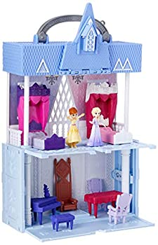 Disney Frozen Pop Adventures Arendelle Castle Playset with Handle Including Elsa Doll Anna Doll & 7 Accessories - Toy for Kids Ages 3 & Up  Blue