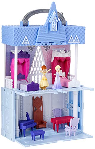 Disney Frozen Pop Adventures Arendelle Castle Playset with Handle, Including Elsa Doll, Anna Doll, & 7 Accessories - Toy for Kids Ages 3 & Up , Blue