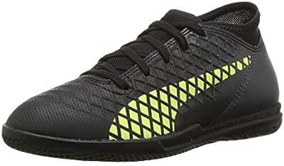 PUMA Unisex-Kids Future 18.4 TT Soccer Shoe, Puma Black-Fizzy Yellow-Asphalt, 5.5 M US Big Kid