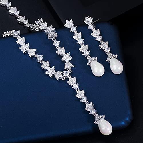 Wnkls CUBICA ZIRCIONIA Piedra Pave PAVEA BANQUILLO BANQUILLO Largo Pearla DE Perlas Y Pendientes JOYEROS DE JOYERS (Metal Color : White)