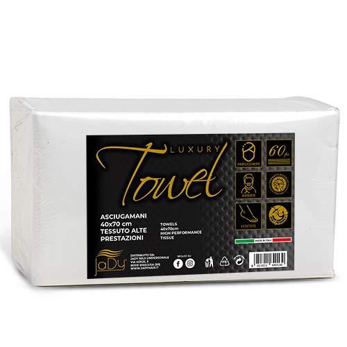 JaDy - Toallas desechables de papel para peluquería 40 x 70 cm, paquete de 60 unidades, de lujo, desechables, fabricadas en Italia (1)