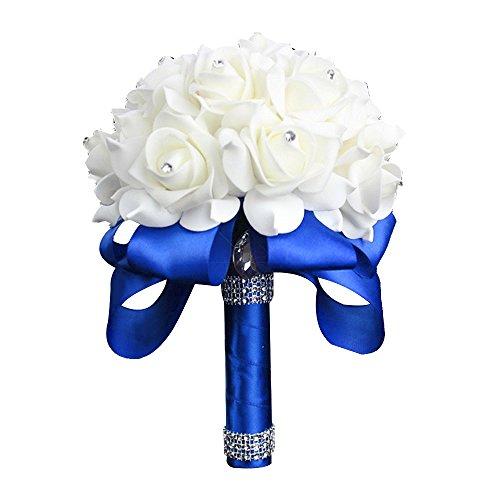 StillCool Wedding Bouquet Crystal Pearl Silk Roses Bridal Bridesmaid Wedding Hand Bouquet Artificial Fake Flowers (18cm x 24cm, Royal-blue)