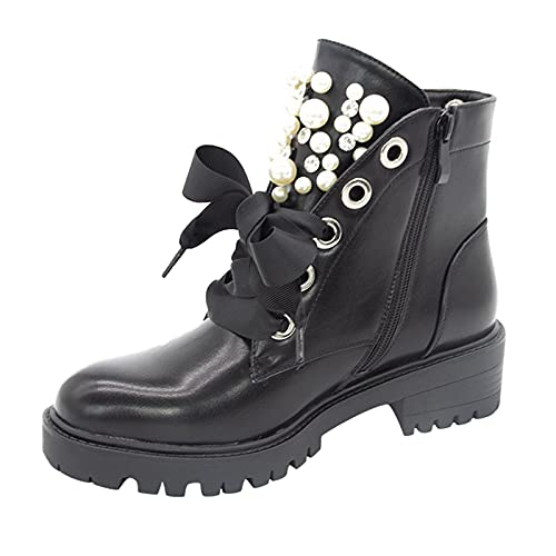 Kurze Stiefel Gefüttert mit Blockabsatz Strass Nieten Gothic Stiefeletten Schnürstiefeletten Damen Stiefeletten Dicker Flacher Absatz Mit Perlen Stiefel Modische Leder Damenstiefel Ankle Boots