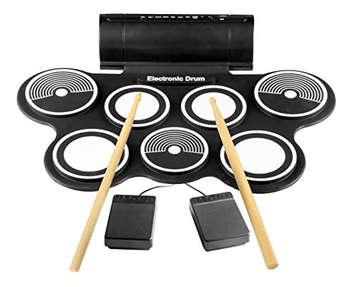 Pyle Electronic Roll Up MIDI Drum Kit W/ 9 Electric Drum Pads, Foot Pedals, Drumsticks, & Power Supply | Quick Setup | Tabletop Roll Up Drum Kit | Pre-Loaded W/ Drum Electric Kits & Songs (PTEDRL14)