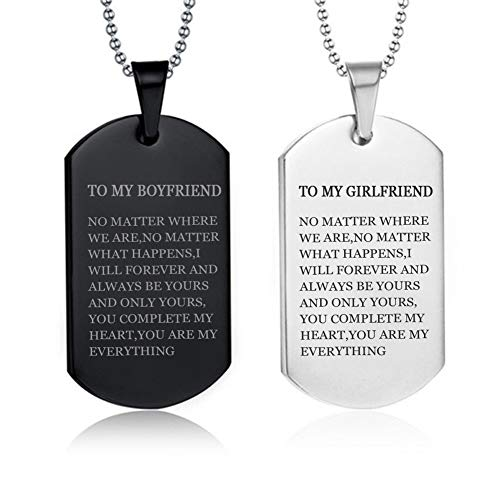 LF 2Pcs Stainless Steel Personalized Couple Necklace,Name Customised His Her Couple Gifts Sentiment Motivational Dog Tag Pendant Necklace for Boyfriend Girlfriend for Valentine,Anniversary,Birthday