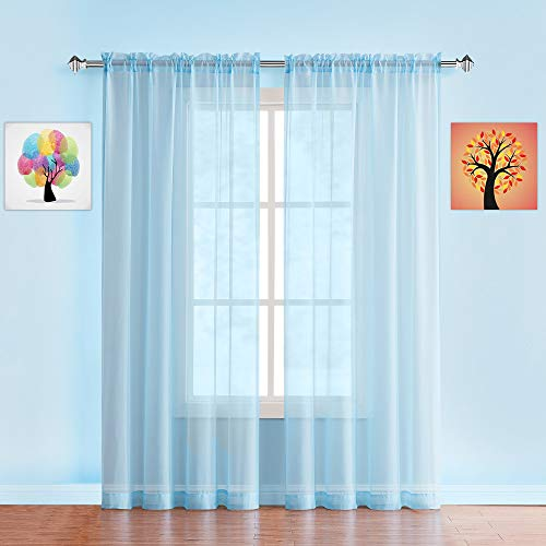 """WARM HOME DESIGNS Pair of Long Length Baby Blue Sheer Window Curtains. Each Voile Drape Is 56 X 96 Inch in Size. Great for Kitchen, Living or Kids Room. 2 Fabric Panels Included. AM Baby Blue 96"""""""