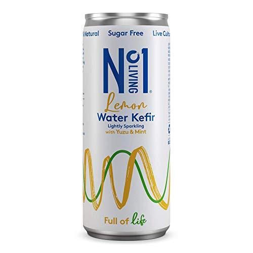 No.1 Living Water Kefir - Lemon - 12 x 250ml Cans - Lightly Sparkling, 100% Natural, Sugar Free, Vegan - Fresh & Light Taste with Yuzu & Mint