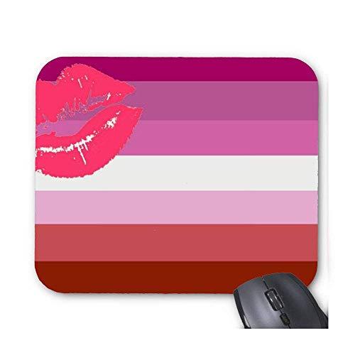 Maus Matte Lippenstift Weibliche Lippen Pride Flag Striped Mouse Pad