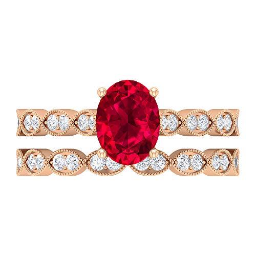 Conjunto único de anillos de novia, piedras preciosas de 2,06 ct, D-VSSI Moissanite 8x6 rubí, anillo de compromiso solitario ovalado con piedras laterales, 14K Oro rosa, Rubí, Size:EU 45