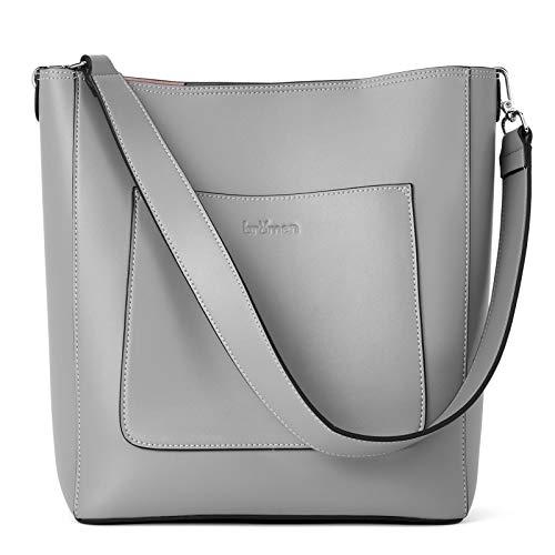 BROMEN Hobo Bags for Women Leather Handbags Designer Shoulder Bucket Crossbody Purse Grey