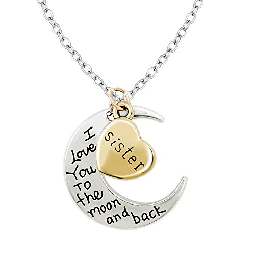 Mini Trinkets Gold/Silver I Love You to The Moon & Back Necklace Pendant Charm Gift Present (Sister)