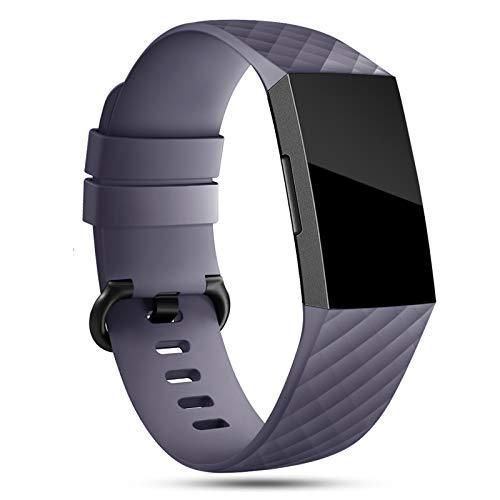 Onedream Correa Compatible para Fitbit Charge 3 Strap/Charge 4 Correa Mujer Hombre Pulsera Recambio Sport Band Gris (sin Reloj),L