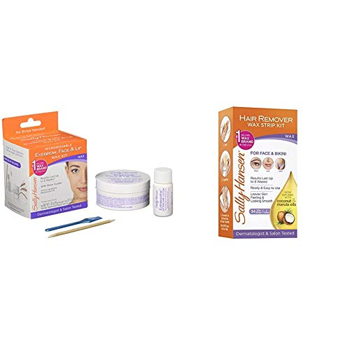 Sally Hansen Eyebrow, Face, Lip Stripless Face Wax Kit, Pack Of 1 & Sally Hansen Hair Remover Wax Kit for Face, Brows, and Bikini, 34 Count (17 Double Sided Strips), Pa