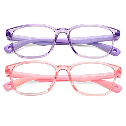Braylenz 2 Pack Kids Computer Blue Light Blocking Glasses Girls Boys Clear Nerd TR90 Eyeglasses Frame Age 3-10 (Clear Pink+Clear Purple)