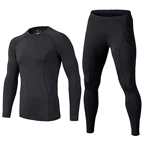 BUYKUD Kids Boys Long Sleeve Base Layer Compression Underwear Athletic Shirt Tights Top Bottom Set 9 10years Black
