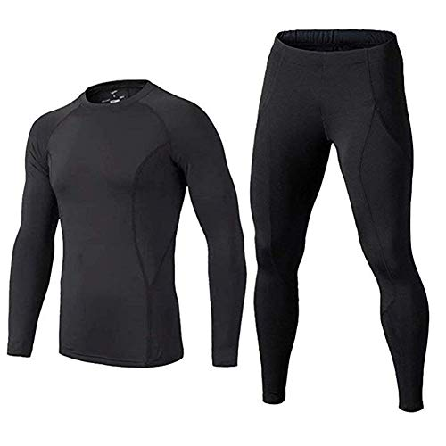 BUYKUD Kids' Boys Long Sleeve Base Layer Compression Underwear Athletic Shirt Tights Top & Bottom Set, 11 12years, Black
