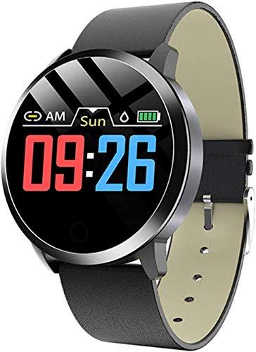 TYX-SS Reloj Inteligente para Mujer, Monitor de Ritmo cardíaco Resistente al Agua, Reloj para Mujer, rastreador Deportivo, Reloj Inteligente para Android iOS-Cuero Negro Negro