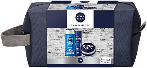 NIVEA MEN Travel Buddy Geschenkset, Geschenk für Männer mit Deo Spray, Pflegeshampoo, Feuchtigkeitscreme für Gesicht, Hände & Körper und Kulturtasche, Set für den gepflegten Mann