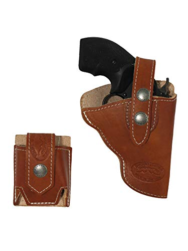 Barsony Saddle Tan Leather Outside The Waistband Holster + Speed-Loader Pouch for Ruger LCR 38, 22 Left