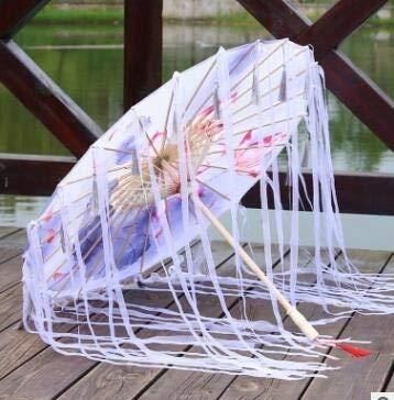 Xiaojie Sombrilla de tela de seda con encaje para mujer, para fotografía de disfraces, con borlas, paraguas de papel de aceite clásico chino (color: hombre Jyu Sha Ge)