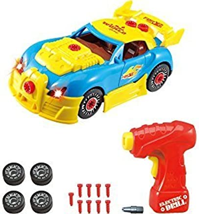 Take Apart Racing Car Toys - Build Your Own Toy Car with 30 Piece Constructions Set - Toy Car Comes With Engine Sounds & Lights & Drill With Toy Tools For Kids - Original - By Yafex