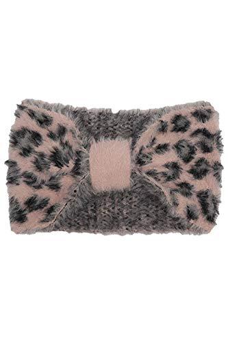 Zwillingsherz Stirnband im Leo Muster Motiv - Hochwertiges Kopfband für Damen Frauen Mädchen - Wolle - Ohrenschutz - Haarband - warm weich und luftig für Frühjahr Herbst und Winter - rosa