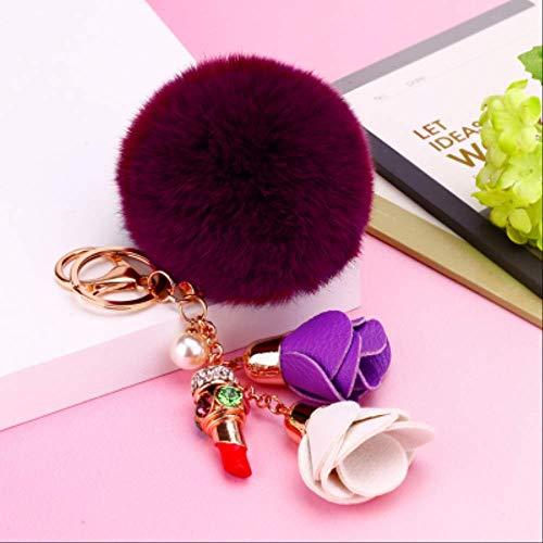 FANGYNAN Sexy Lippenstift Schlüsselanhänger 8cm -Pelz -Kugel -Plüsch -Quaste Blume Schlüsselanhänger Frauen -Beutel -Charme -Anhänger3