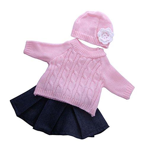 MagiDeal 3 Stück / Set Fashion Puppe Kleidung Outfit - Pullover + Jeans Faltenrock + Blumen Hut - Bekleidung Für 18 '' Puppe