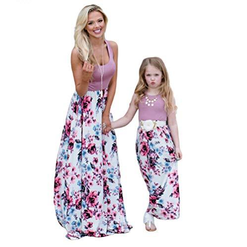 Wide.ling Sommer- Mode Maxi Kleid Beiläufige Familie Kleidung Mädchen Kleid Mutter Und Tochter Beiläufig Boho Ärmelloses Splice Strandkleid (rosa, S)