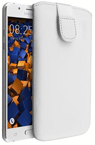 mumbi ECHT Ledertasche Samsung Galaxy J5 (2016) Tasche Leder Etui weiss (Lasche mit Rückzugfunktion Ausziehhilfe)