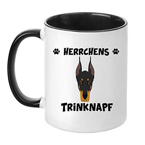 TassenTicker® - ''Herrchens Dobermann Trinknapf'' - Kaffeetasse - Hunde-Tasse - Hundebesitzer - Herrchen - Geschenkidee - Schwarz