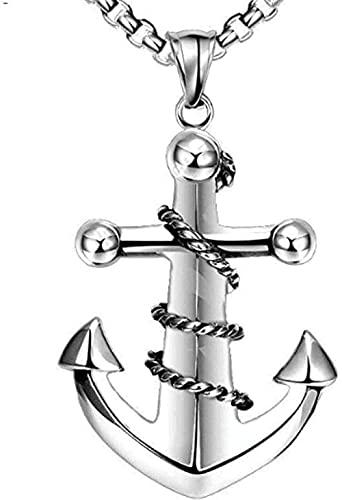 NC190 Colgante de Cuerda de Ancla de Acero Inoxidable Simple Collar de Personalidad de Ancla de Viento de Acero de Titanio Azul Oscuro para Hombres joyería de Marea