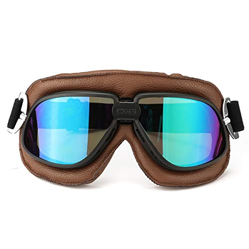 RongDuosi motorfiets retro bril flying scooter helm winddicht bril anti-UV bruin frame motorfietsonderdelen motorbril