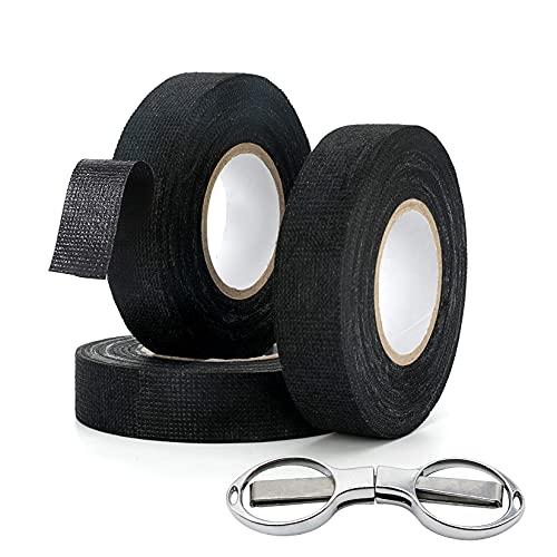 Isolierband Schwarz 19mm x 15m (3 Rollen), Kann Reißen Gewebeband, Flammhemmendes Kabelbaum Klebeband mit Schere, Isolierband Hitzebeständig, Gewebeklebeband für Autokabel, Powerkabel, Erdungskabel