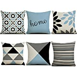 HBOS 6er Set Leinen zierkissenbezüge 45x45 cm, Liniengeometrie Muster Zierkissenhülle Dekorative Kissenbezug Für Sofa Büro