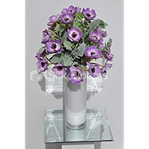 Silk Blooms Ltd Artificial Purple Anemone and Green Lambsear Floral Arrangement w/White Cylinder Vase