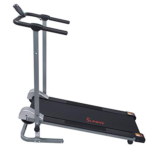 Sunny Health & Fitness SF-T1407M Manual Walking Treadmill with LCD Display, Compact Folding, Portability Wheels and 220 LB Max Weight