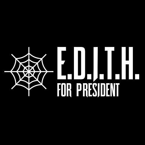 Pegatina de vinilo con texto en inglés «E.D.I.T.H for President Full Web» para coches, camiones, furgonetas, paredes, ordenador portátil, color blanco, 19 x 8 cm