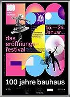 ポスター バウハウス 100 Jahre Bauhaus Festival 2019 Black 額装品 アルミ製ハイグレードフレーム(シルバー)