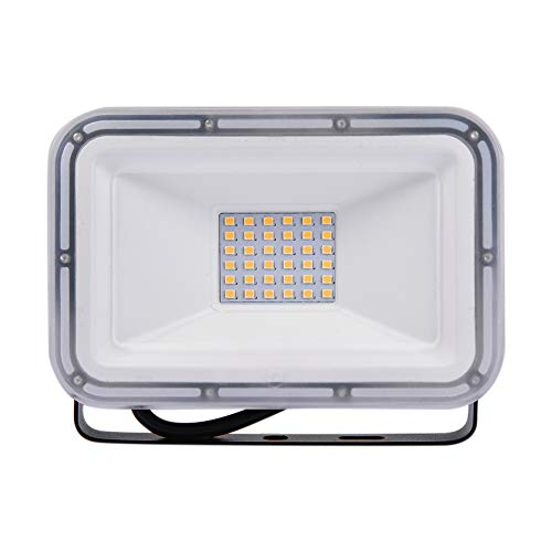 30W LED Strahler, LED Wandstrahler, Außenstrahler Aluminium Flutlicht Fluter IP67 Wasserdicht LED Fluter für Außen & Innen für Tunnel Garden Boden, Basketballplatz (Warmweiß, 30W)