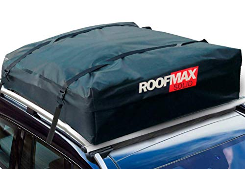 Roofmax Solid Waterproof Roof Cargo Bag Carrier - Carriers for Cars with Heavy-Duty Straps – Waterproof Roof Protective Mat – Strong and Fade Resistant Rooftop Cargo Bag and Straps