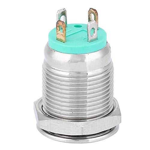 Interruptor de reinicio automático de 12 mm, interruptor de metal, cabezal plano para componentes electrónicos de coche y caravana (24 V)