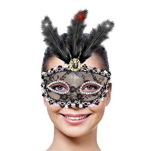 Folat Masque de fête avec éclairage LED (Taille Unique, Noir métallisé)