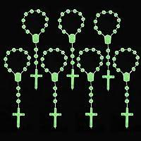 夜光カラー洗礼は7色アクセントのミニロザリオアクリルビーズ/Recuerditos De Bautismo/Christening Favors/Decenarios/10歳/フィンガーロザリオに最適 25個