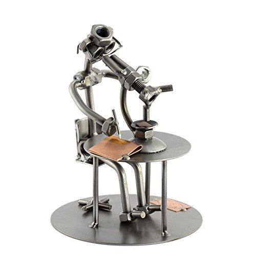 Steelman24 I Schraubenmännchen Biologe Mit Mikroskop Mit Persönlicher Gravur I Made in Germany I Handarbeit I Geschenkidee I Stahlfigur I Metallfigur